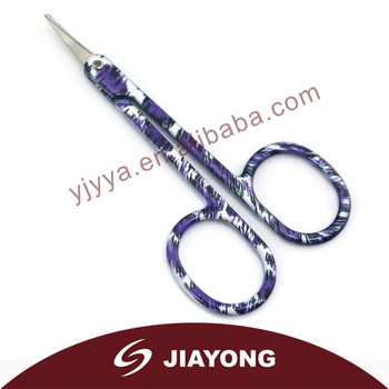 Colorful stainless steel eyebrow scissors with cover MJ-191