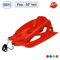 Latest snow luge plastic towable kids snow sled with backrest,EN71 -30temp 24h cold resistance test