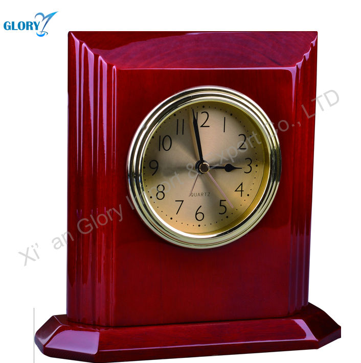 Beautiful Red Antique Carving Wooden Table Clock