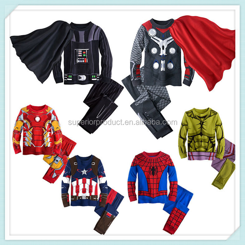 Autumn Hulk Pajamas For Boys Super Hero Pajamas Pants Iron Man Tracksuit Spiderman Bat man Pajamas Suits Sleepwear