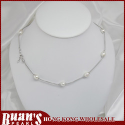 "18"" 8.5mm drop shape white pearl silver necklace"