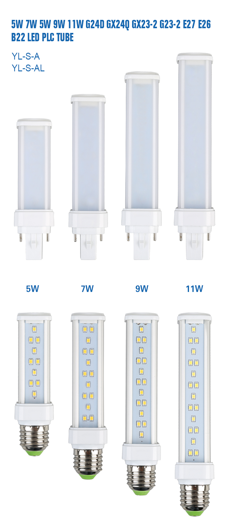 11w led PLC light 3000k 4000k 6000k 180 degree tube for replacement from zhejiang factory