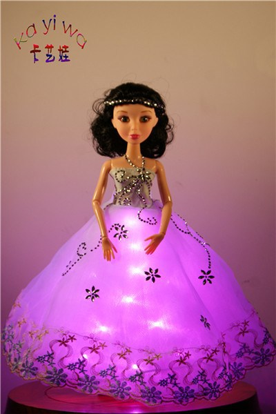 Animal Mini LED Lights Dolls / White Wedding Dress for Bride Barbie