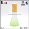 unique shape 40ml 120ml glass lotion bottles lotion pump green red cosmetic glass container with wooden lid