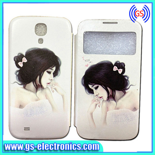New design Cartoon Girl Window View Flip Cover Battery Back Case for Samsung Galaxy S4 I9500