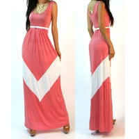 Summer party latest design NEW VTG ST MINT COLOR BLOCKED EMPIRE WAISTED RAYON KNIT LONG MAXI 2015 Dress ZT-002513 boutique