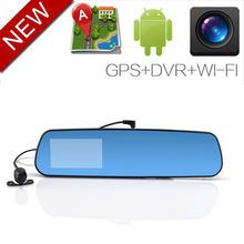 New Low price Android 4.0.3 rear view GPS navigation Bluetooth Wifi car mirror black box