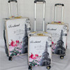 Hot selling printing wholesale pu leather luggage trolley bags