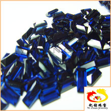 Baguette step cut synthetic blue sapphire gemstone