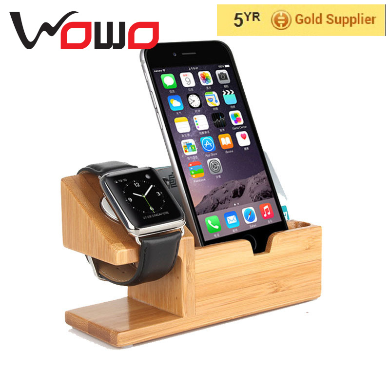 15W 3A 3-Port USB Bamboo Wood Charging Station For Apple Watch Stand