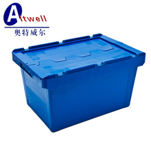 Plastic logistic tote turnover box with hinged lid