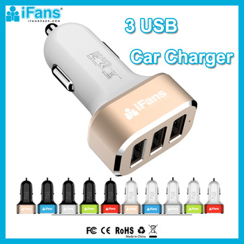 iFans 5.2A Triple USB Car Charger For Cell Phone