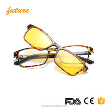 J1646 Polarized TR90 Glasses Brand Retro 2017 Frame Shades Classic CE Magnetic Clip on Sunglasses