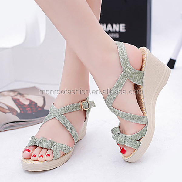 Monroo New thick sandy sandals female summer flat open toe high heel large size women 's shoes wholesale