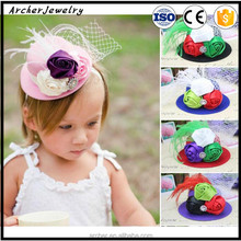 Kids Colorful roses flower Hat Feather with Decorated head band HA-1186