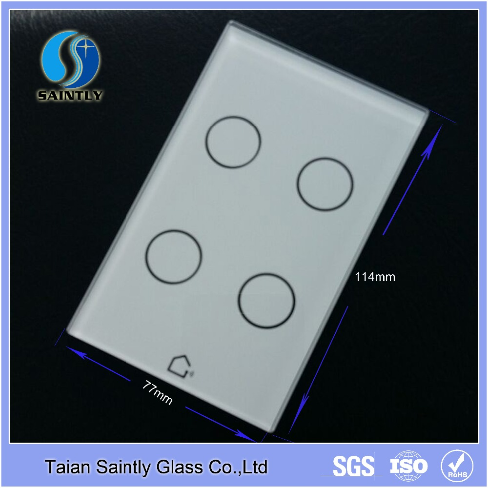 4mm low iron toughened transparent glass touch screen for computer with silk screen printing
