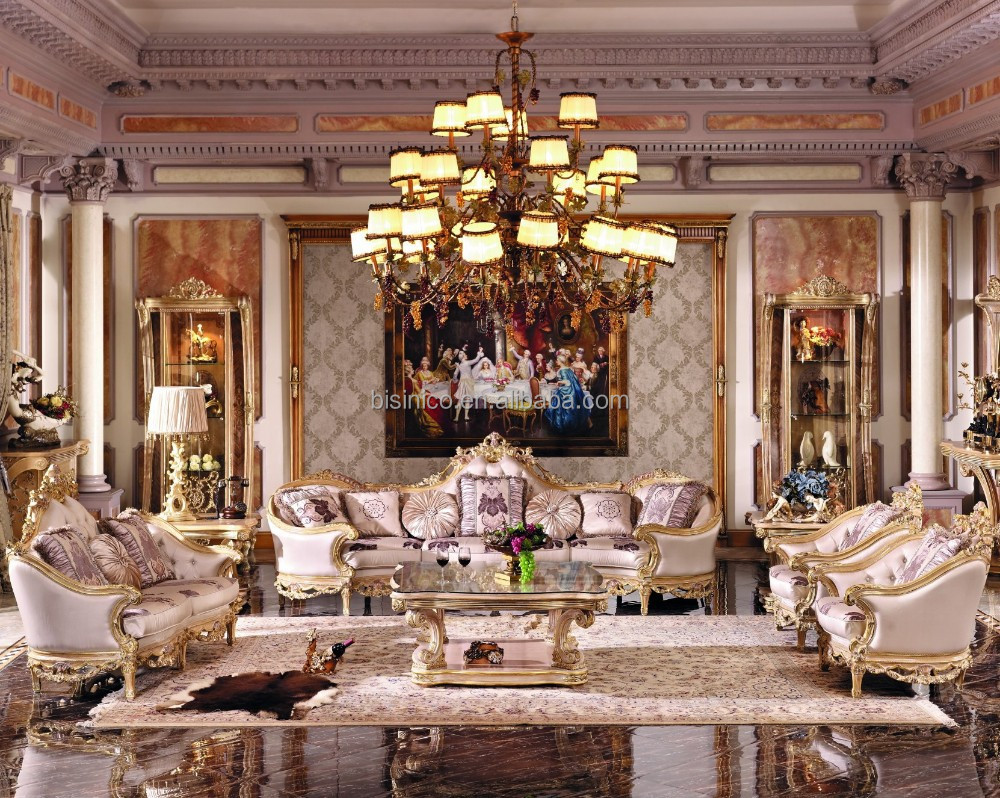 Luxury French Baroque Bright Color Living Room Sofa Set/Royal Palace Hand Carved Fabric Sofa/European Living Room Furniture
