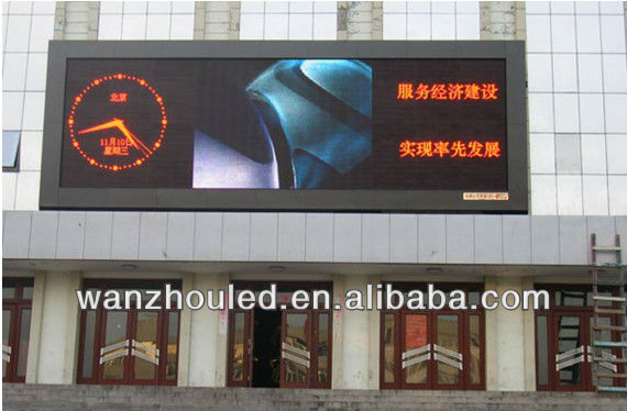 Wanzhou P10 advertising full color led display screen/sign/board/panel square/street/house roof outdoor