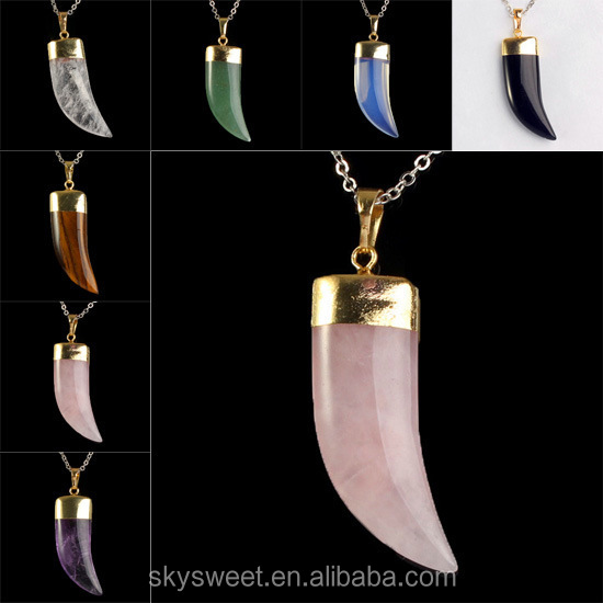 Nature Agate Necklace ,Horn Necklace Different Color Mix China Online Supplier