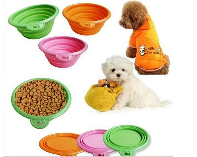 Silicone Retractable Dog Bowl Portable Pets Dogs Food Feeder. Collapsible Bowl For Dogs Travel Necessities