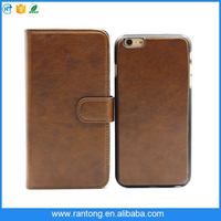 removable magnetic leather cell phone case for iphone 6