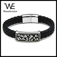 Chinese Imports Wholesale New Style Skull Leather Bracelet Men Stainless Steel Jewelry