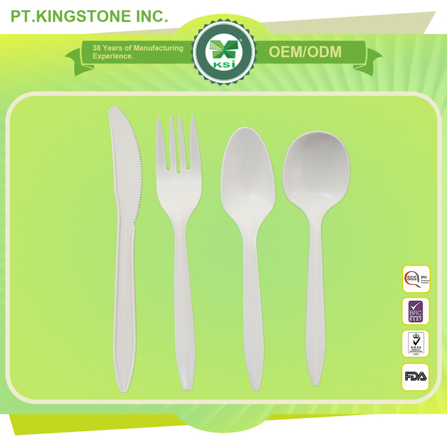 biodegradable cutlery wholesale biodegradeble white fork knife spoon