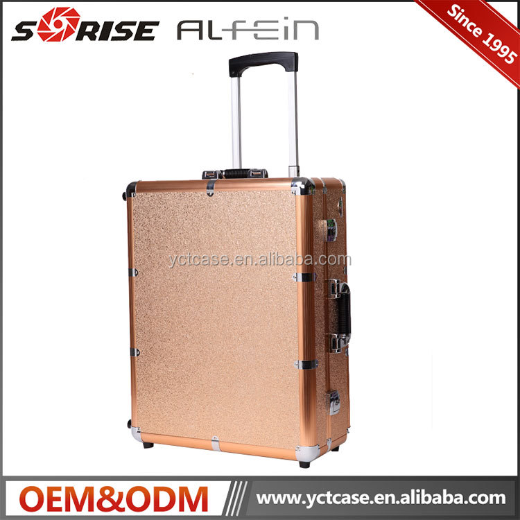 Professional aluminum lighted makeup trolley case with lights