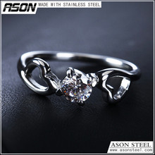 Two heart antil allergic stainless steel wedding diamond changing color jewelry rings for young lovers