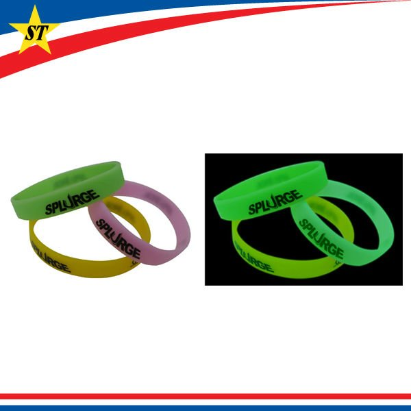 eco-friendly custom glow silicone bracelet