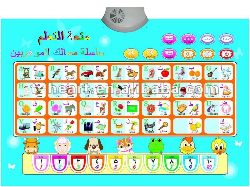 arabic and english language wall chart for kids learning ABC
