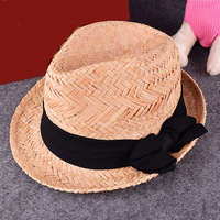 wholesale custom summer beach bowknot ladies recycled paper fedora straw hats