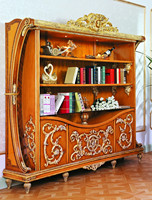 Luxury French Style Bookcase/New Baroque Golden Carved Bookshelf/Italian Design Gorgeous Wooden Book Cabinet,MOQ 1 PC