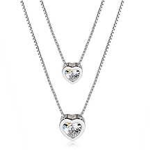 925 sterling silver jewellery Double Layer Hearts Love Hearts pendant necklace