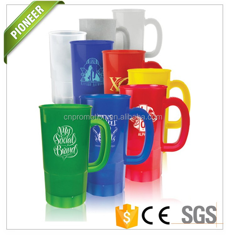 Customized 22 oz Plastic Beer Stein with handle