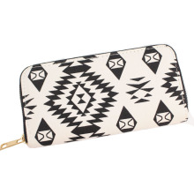 New Fancy Black White Canvas Lady Wallet Purse With Single Zipper