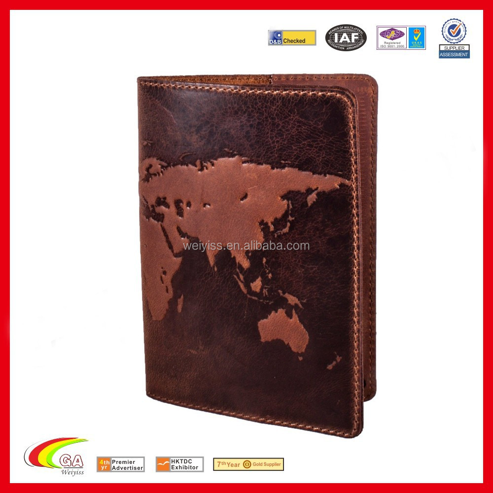 "Premium Leather Passport Cover ""World Map 3D Print"" 133*192 mm"