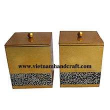 Quality eco-friendly traditionally hand finished gold & black lacquerware coffee jars with eggshell inlay