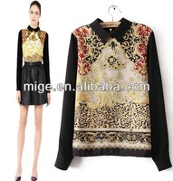 Stock available blouses 2013 new designs printed blouse BU001