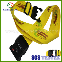 Factory price professional custom colorful printed logo adjustable luggage belt strap with tas lock and digital combination