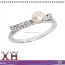 925 Sterling Silver Overlay Freshwater Pearl Pave Line Ring