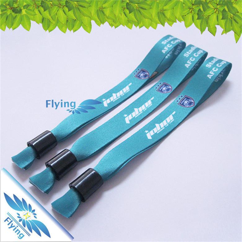 Promotional Custom Knit Wristbands Fabric Bracelets With Plastic