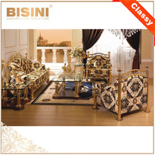 French Baroque Colletion Living Room Furniture/ Royal 18/24K Gold Plated Sectional Sofa Set/ Classic Gilded Sofa Couch