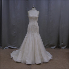 blue and white ball gown long beaded embroidery wedding dress 2015