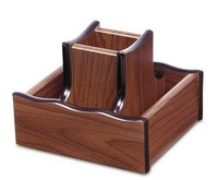 high quality office custom wooden box pen stand with revolving disk