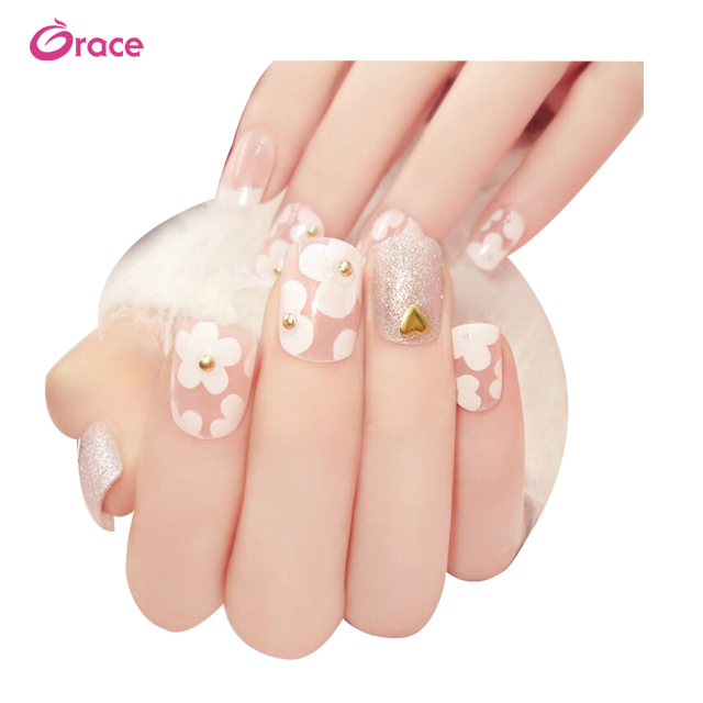 <strong>A08</strong> Manicure products fashion lady fake nails artifical fingernails tips 3d bride fake nails pre design full cover nail tips