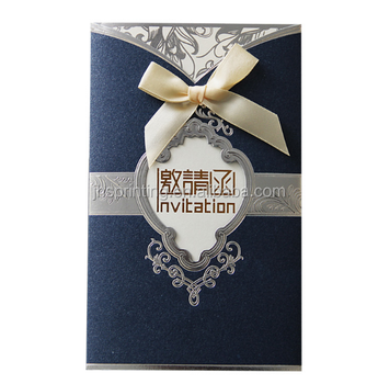 Custom color gold foiled speacial paper cover loyal wedding invitation card