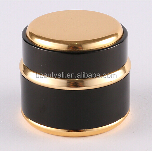 7g 15g 20g 30g 50g 100g Black silver aluminum cosmetic jars, black shiny metalized round 5g eye cream jar