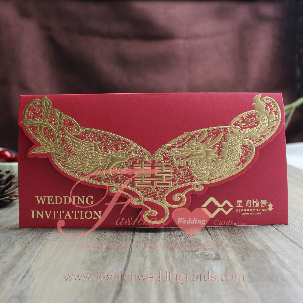 Chinese Traditional Gold Stamp Red Wedding Invitation With Custom ...