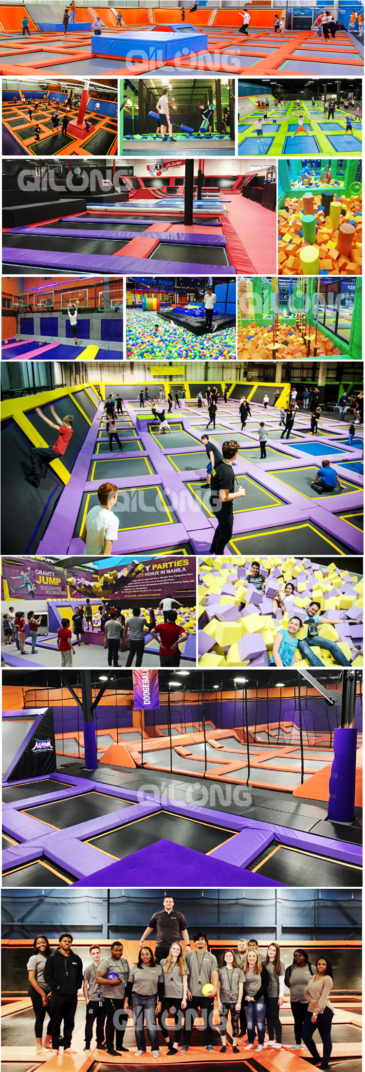 Factory commercial bungee trampoline indoor playground for fun convenient trampoline park